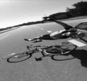 An image captured by Myron 'Skip' Amerine's helmet camera as he was struck by a car.